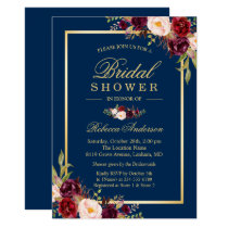 Elegant Burgundy Floral Navy Blue Bridal Shower Invitation
