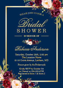 Navy bridal shower invitations announcements zazzle elegant burgundy floral navy blue bridal shower invitation filmwisefo