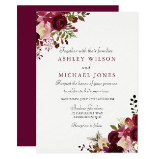 Elegant Burgundy Floral Wedding Invitation