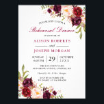 """Elegant Burgundy Floral Wedding Rehearsal Dinner Card<br><div class=""""desc"""">================= ABOUT THIS DESIGN ================= Elegant Burgundy Marsala Red Floral Wedding Rehearsal Dinner Invitation. (1) For further customization, please click the &quot;Customize&quot; button and use our design tool to modify this template. The background color and text styles are changeable. (2) If you prefer a thicker paper, you may consider to...</div>"""