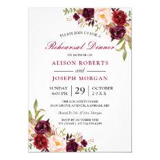 Elegant Burgundy Floral Wedding Rehearsal Dinner Card at Zazzle