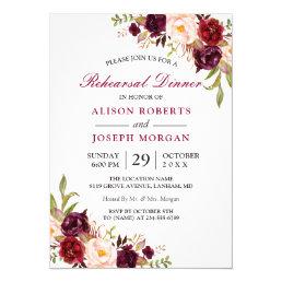 Elegant Burgundy Floral Wedding Rehearsal Dinner Card