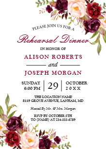 Rehearsal dinner invitations zazzle elegant burgundy floral wedding rehearsal dinner card junglespirit Image collections