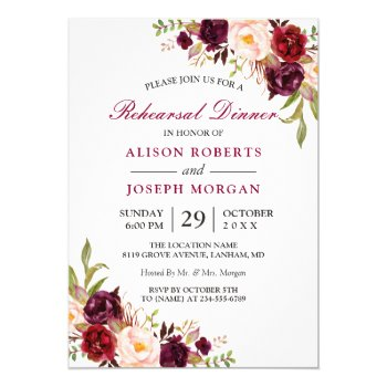 Elegant Burgundy Floral Wedding Rehearsal Dinner Card by CardHunter at Zazzle