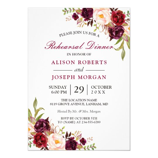 Elegant burgundy floral wedding rehearsal dinner card zazzle elegant burgundy floral wedding rehearsal dinner card junglespirit Image collections