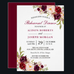 """Elegant Burgundy Floral Wedding Rehearsal Dinner Invitation<br><div class=""""desc"""">Elegant Burgundy Marsala Red Floral Wedding Rehearsal Dinner Invitation. (1) For further customization, please click the &quot;customize further&quot; link and use our design tool to modify this template. (2) If you prefer Thicker papers / Matte Finish, you may consider to choose the Matte Paper Type. (3) If you need help...</div>"""
