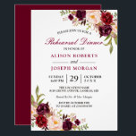 "Elegant Burgundy Floral Wedding Rehearsal Dinner Invitation<br><div class=""desc"">Elegant Burgundy Marsala Red Floral Wedding Rehearsal Dinner Invitation. (1) For further customization, please click the &quot;customize further&quot; link and use our design tool to modify this template. (2) If you prefer Thicker papers / Matte Finish, you may consider to choose the Matte Paper Type. (3) If you need help...</div>"