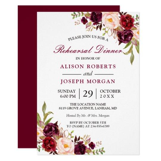 Elegant Burgundy Floral Wedding Rehearsal Dinner Invitation Zazzle Com