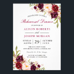 "Elegant Burgundy Floral Wedding Rehearsal Dinner Invitation<br><div class=""desc"">================= ABOUT THIS DESIGN ================= Elegant Burgundy Marsala Red Floral Wedding Rehearsal Dinner Invitation. (1) For further customization, please click the &quot;Customize&quot; button and use our design tool to modify this template. The background color and text styles are changeable. (2) If you prefer a thicker paper, you may consider to...</div>"