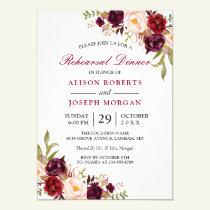 Elegant Burgundy Floral Wedding Rehearsal Dinner Invitation
