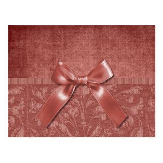 Elegant Burgundy Floral With Bow Postcard