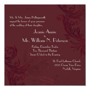 Elegant Burgundy Flourish Wedding Invitation 5.25