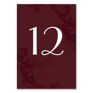 Elegant Burgundy Flourish Wedding Table Number Card
