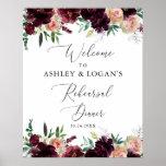 """Elegant Burgundy Flowers Rehearsal Dinner Welcome Poster<br><div class=""""desc"""">Burgundy themed Rehearsal Dinner Large Welcome Poster for Wedding Rehearsal!</div>"""