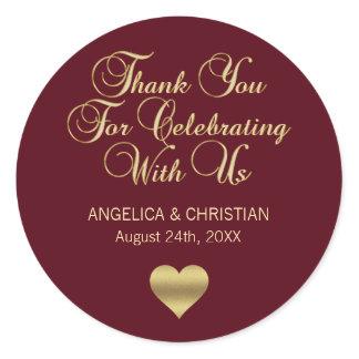 Elegant Burgundy Gold Autumn Thank you Wedding Classic Round Sticker