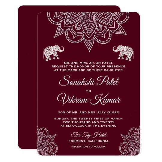 Elegant Burgundy Henna Indian Wedding Invitation