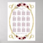 Elegant Burgundy Marsala Floral Fall Seating Chart