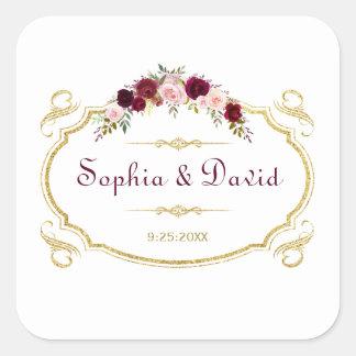 Elegant Burgundy Marsala Floral Fall Wedding Square Sticker