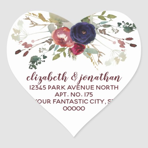 Elegant Burgundy Navy Rose Gold Return Address Heart Sticker