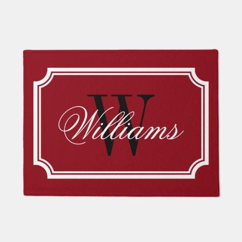 Elegant burgundy red family name monogram door mat