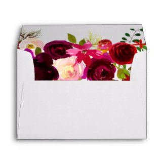 Elegant Burgundy Red Flowers Invitation Envelope