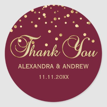Beach Themed Elegant BURGUNDY Red Gold Wedding Thank You Classic Round Sticker