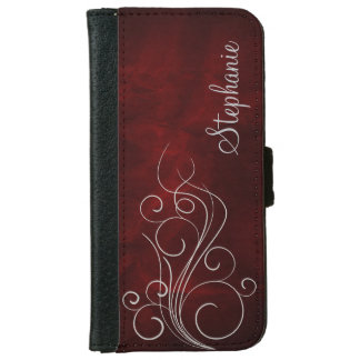 Elegant Burgundy Red Silver Swirl Personalized iPhone 6/6s Wallet Case