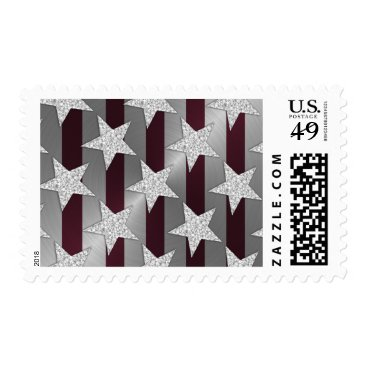 Professional Business Elegant Burgundy Silver and Silver Stars Postage