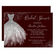 Elegant Burgundy Wedding Gown Bridal Shower Invitation
