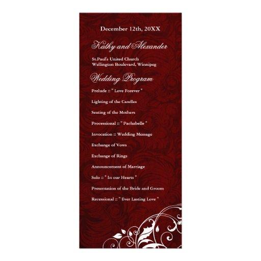 Elegant Burgundy Wedding Program 4x925 Paper Invitation Card