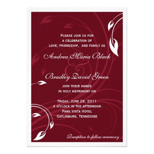 Elegant Burgundy White Wedding Invitation 5 X 7 Invitation Card