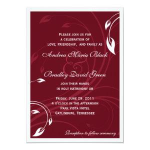 Elegant Burgundy White Wedding Invitation 5
