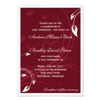 Elegant Burgundy White Wedding Invitation