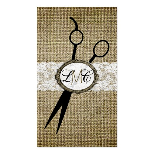 elegant burlap and lace hair stylist hairstylist business card