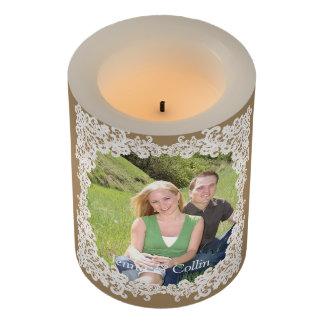 Elegant Burlap and white lace custom photo candle