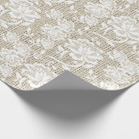 Elegant Burlap and White Lace Wrapping Paper
