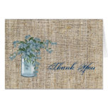 elegant burlap blue lilac floral country wedding stationery note card
