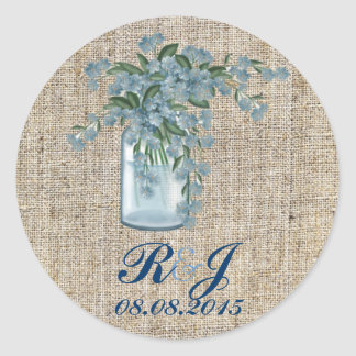 elegant burlap blue lilac floral country wedding round stickers