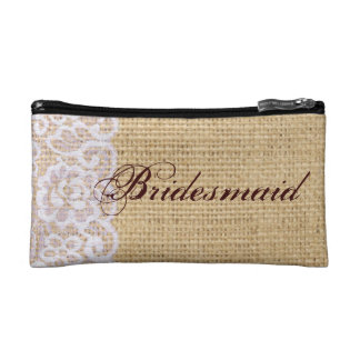 elegant burlap lace country rustic bridesmaid makeup bags
