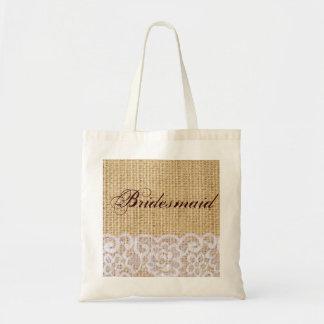 elegant burlap lace country rustic bridesmaid tote bag