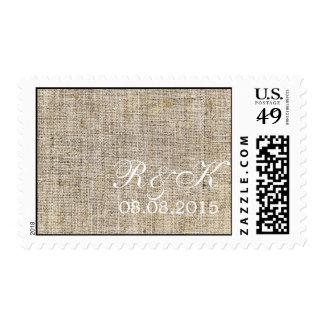 elegant burlap nautical seashells beach wedding postage stamps