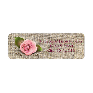 elegant burlap pink rose  floral country wedding return address label
