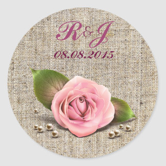 elegant burlap pink rose  floral country wedding stickers