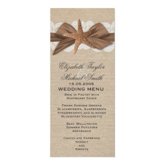 Elegant Burlap Ribbon Starfish Wedding Menu Card