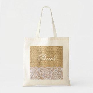 elegant burlap white lace country bride tote bag