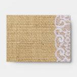 elegant burlap white lace country rustic wedding envelope