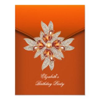 Elegant Burnt Orange Amber Birthday Party Card
