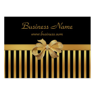 Elegant Business Card Gold Black Stripe Gold Bow