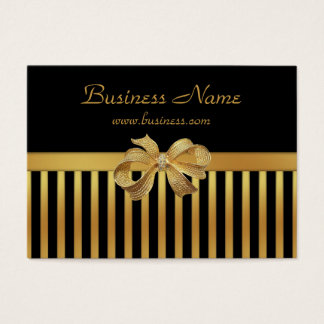 Elegant Business Card Gold Black Stripe Gold Bow