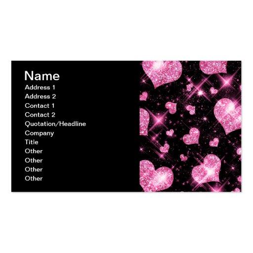 Elegant Business Pink Glitter Hearts Business Card